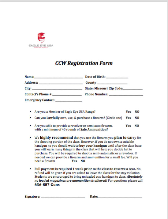 Eagle Eye CCW Registration Form